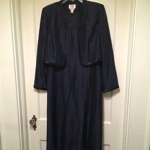 Talbots Pure Silk Navy Formal Dress/Jacket Sz 12